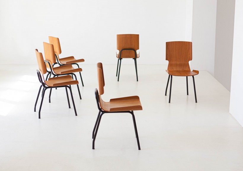 1950s Set of six curved teak chairs SE311