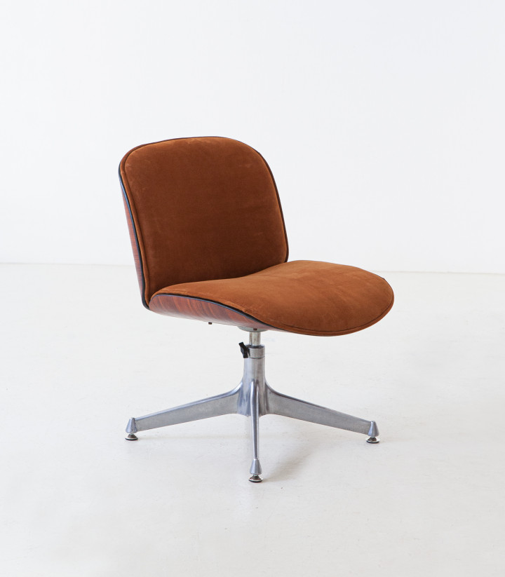 1950s cognac suede leather and rosewood chair by Ico Parisi for mim SE247