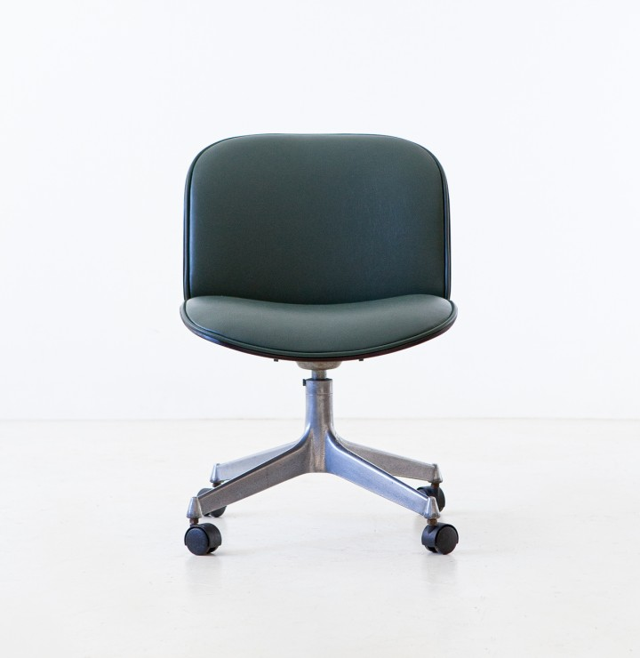 Green Skai Swivel Desk Chair by Ico Parisi for MIM Roma, 1950s SE331