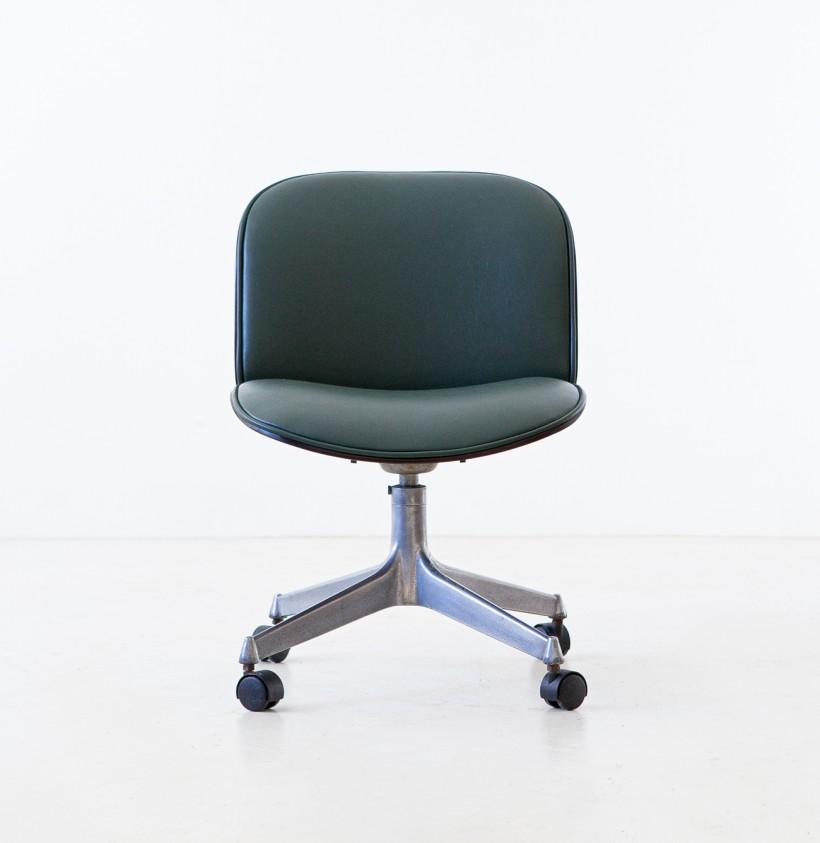 Green Skai Swivel Desk Chair by Ico Parisi for MIM Roma, 1950s SE331