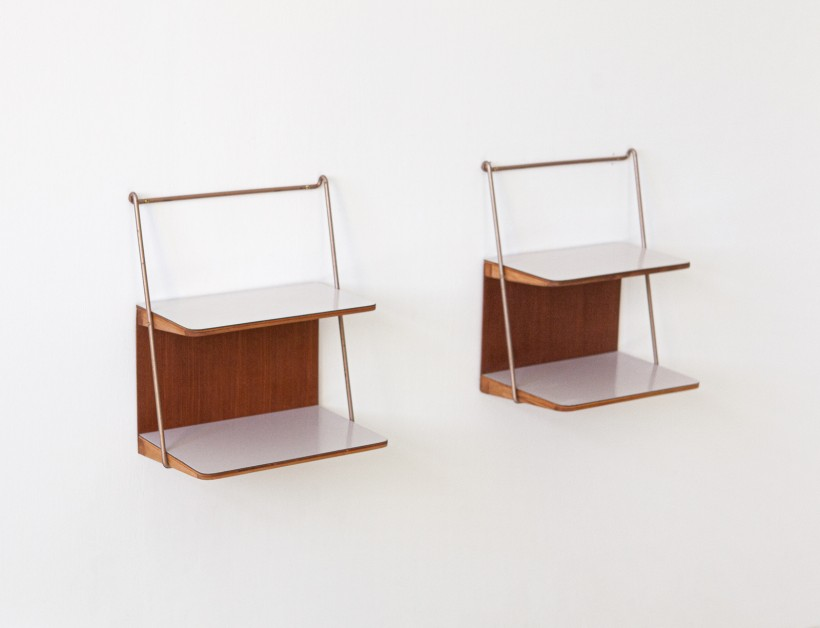 1950s wall mounted teak nighstands BT86