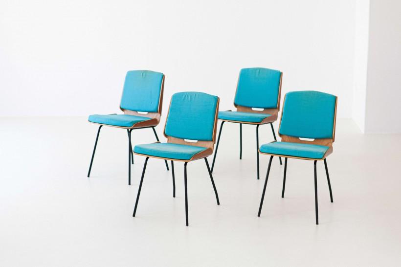 "Four "" Lucania "" dining chairs by Giancarlo De Carlo for Arflex , 1954 , SE294"