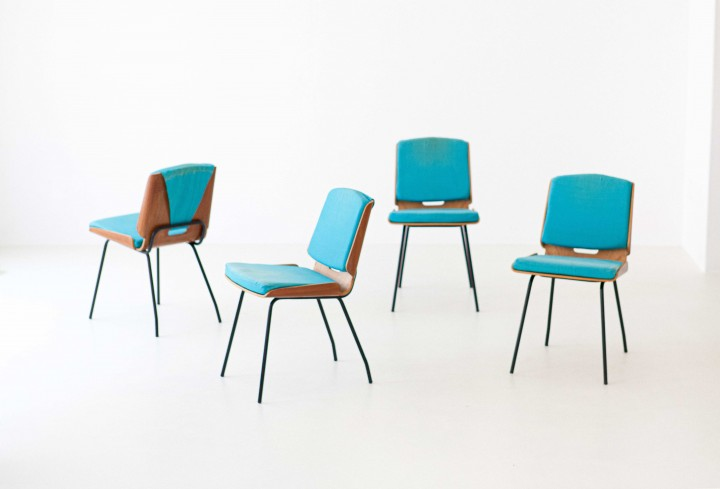 "Four "" Lucania "" dining chairs by Giancarlo De Carlo for Arflex , 1954 , SE294"