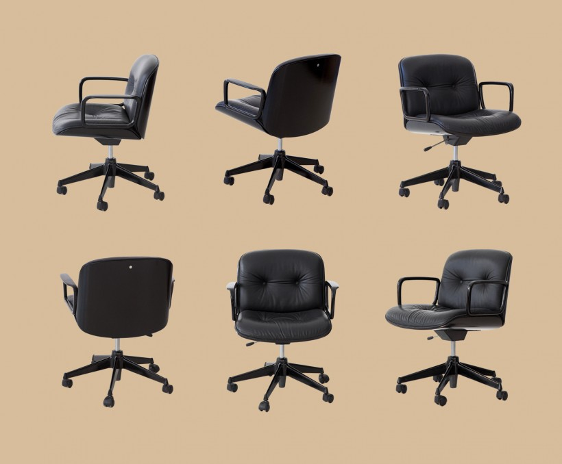 Set of 6 Black Leather Desk Chairs by Ico Parisi for MIM  SE315