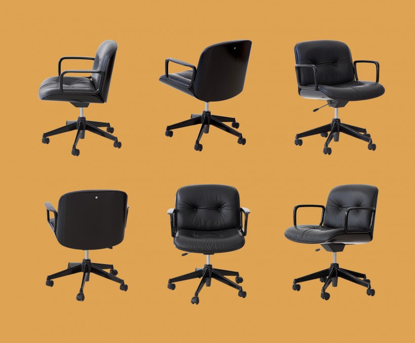 Black Leather Desk Chairs by Ico Parisi for MIM  SE315
