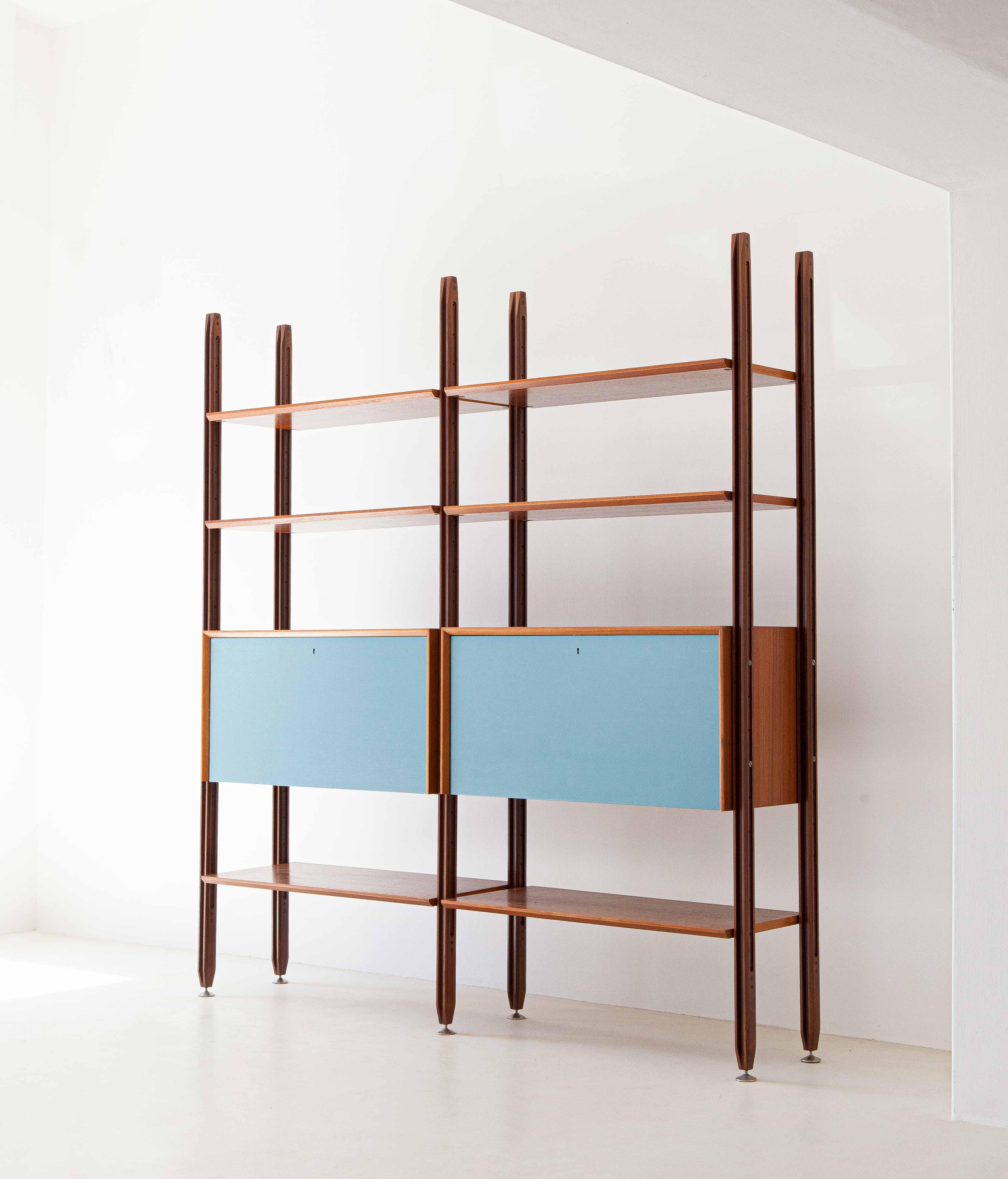 1960s-teak-bookshelf-with-light-blue-doors-1-WU38