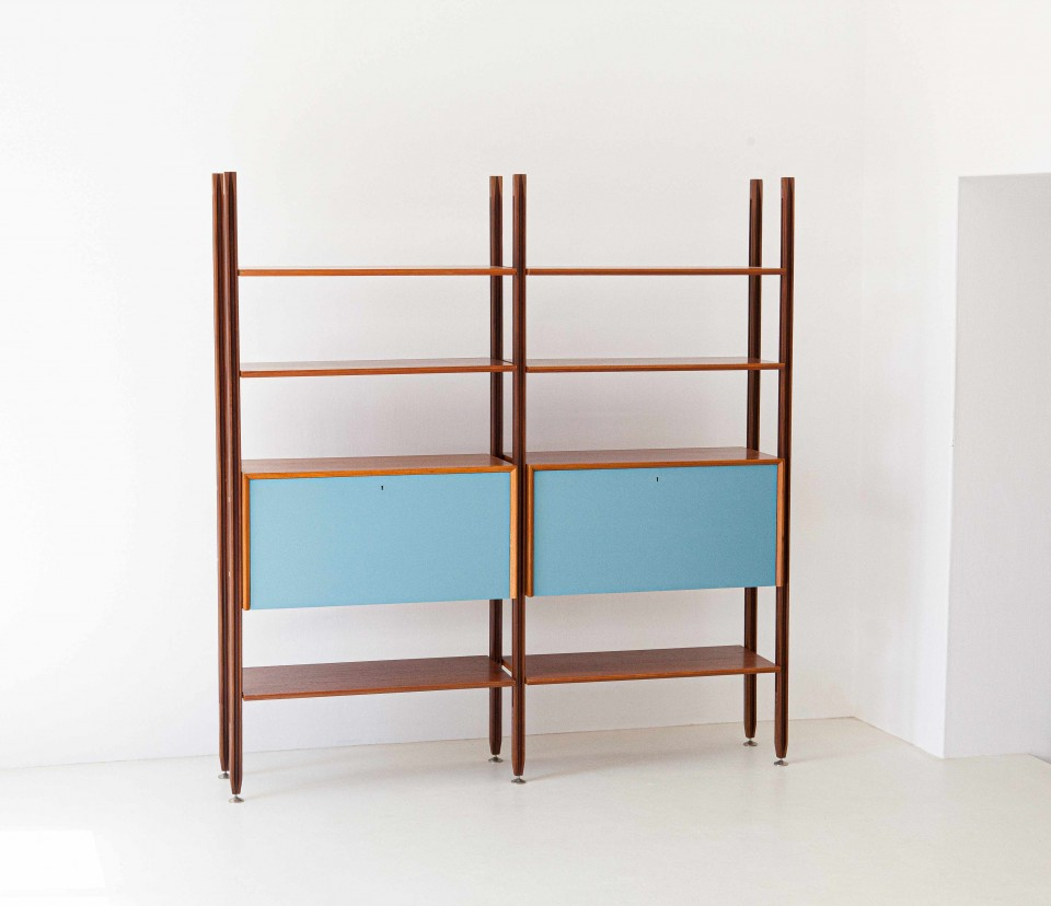 1960s teak bookshelf with light blue doors WU38 – Not Available
