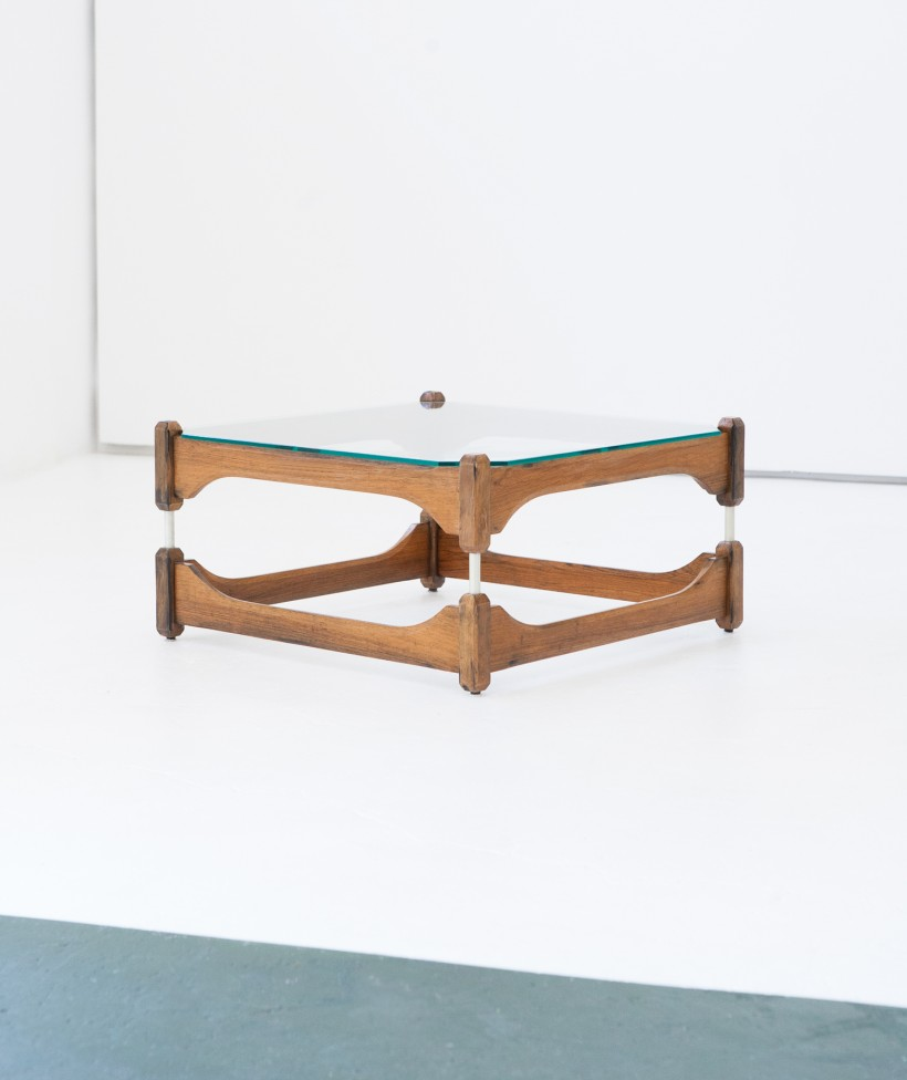 Italian Wood and Glass Coffee Table 1960s T54