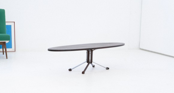 Italian Iron and Rosewood Elliptical Coffee Table , 1960's T55