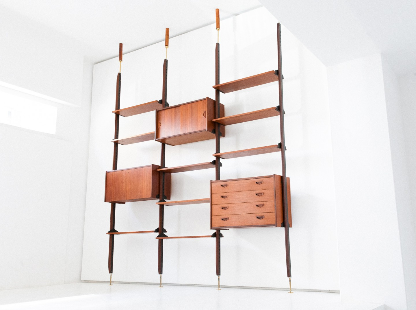 1950s Italian Modern Floor to Ceiling Wall Unit   WU31- Not Available