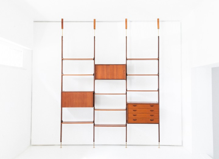 1950s Italian Modern Floor to Ceiling Wall Unit   WU31