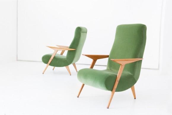 Pair of Italian Green Velvet Armchairs, 1950 SE247