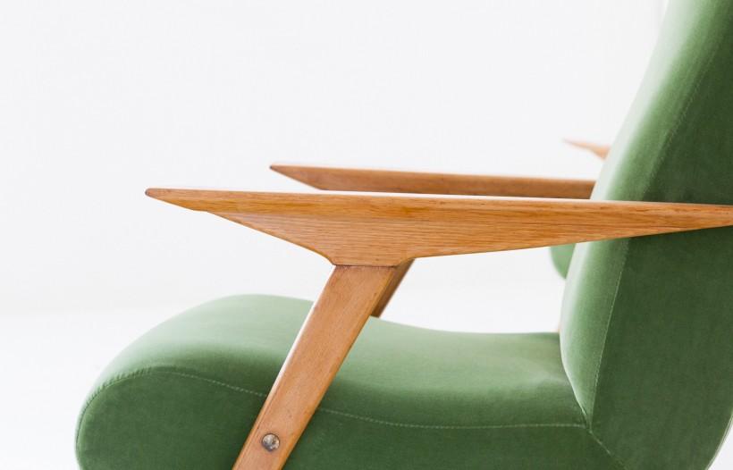 Pair of Italian Green Velvet Armchairs, 1950 SE247  -Not Available