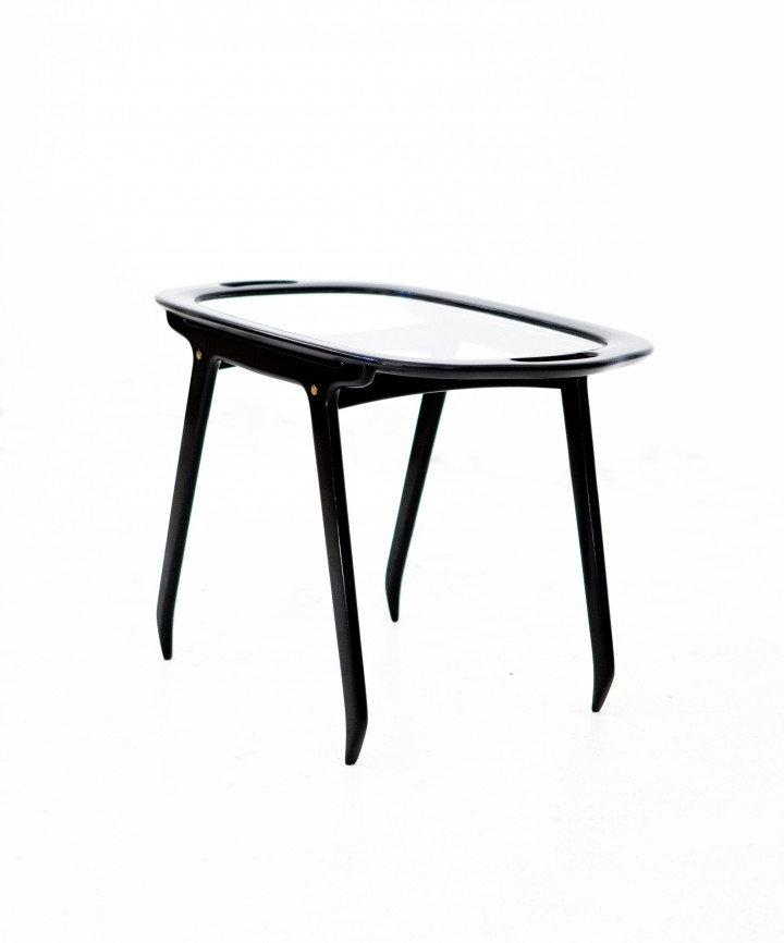 Italian Black Wood and Glass Coffee Table by Cesare Lacca, 1950s T66