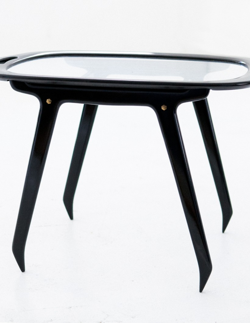 Italian Black Wood and Glass Coffee Table by Cesare Lacca, 1950s T68