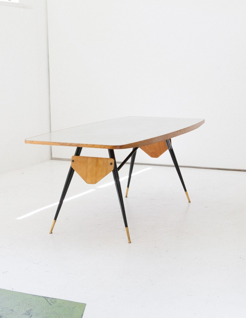 Italian Grey Glass and Iron Frame Dining Table, 1950s  T68