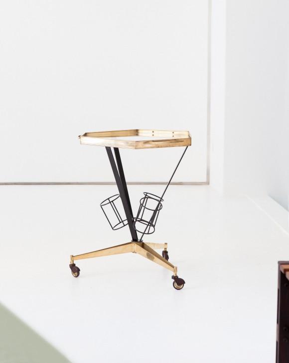 Italian brass and glass bar cartOF73