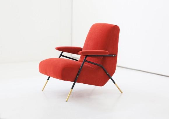 Italian Modern Orange Velvet Lounge Armchairs  SE244