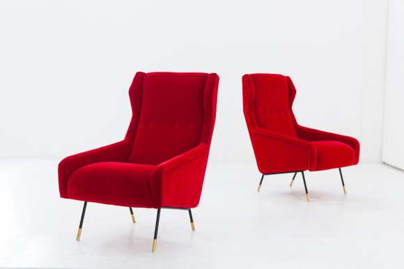 Pair of Italian Red Velvet Brass and Iron Lounge Chairs, 1950s  SE256