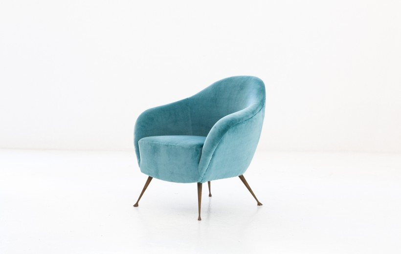 Turquoise Velvet and Brass Legs Lounge Chair SE262 – Not available