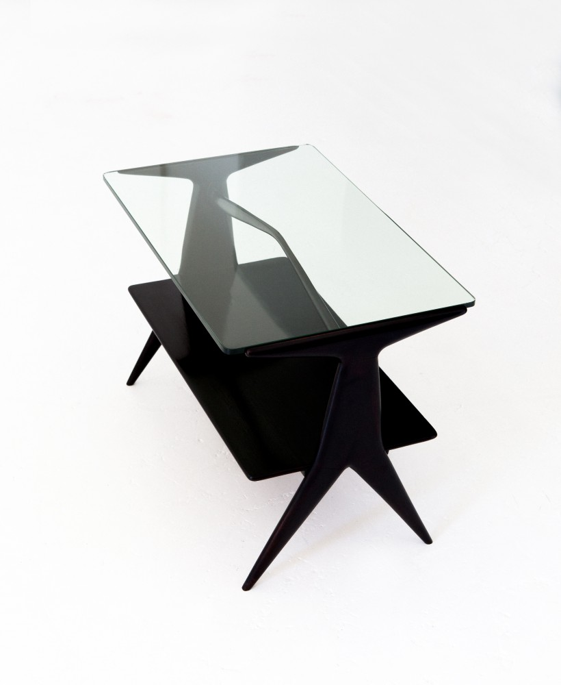 Italian Modern Two Levels Black Coffee Table, 1950s T73