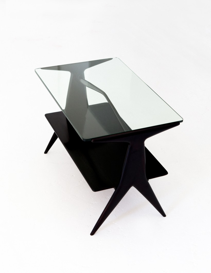 Italian Modern Two Levels Black Coffee Table, 1950s T73