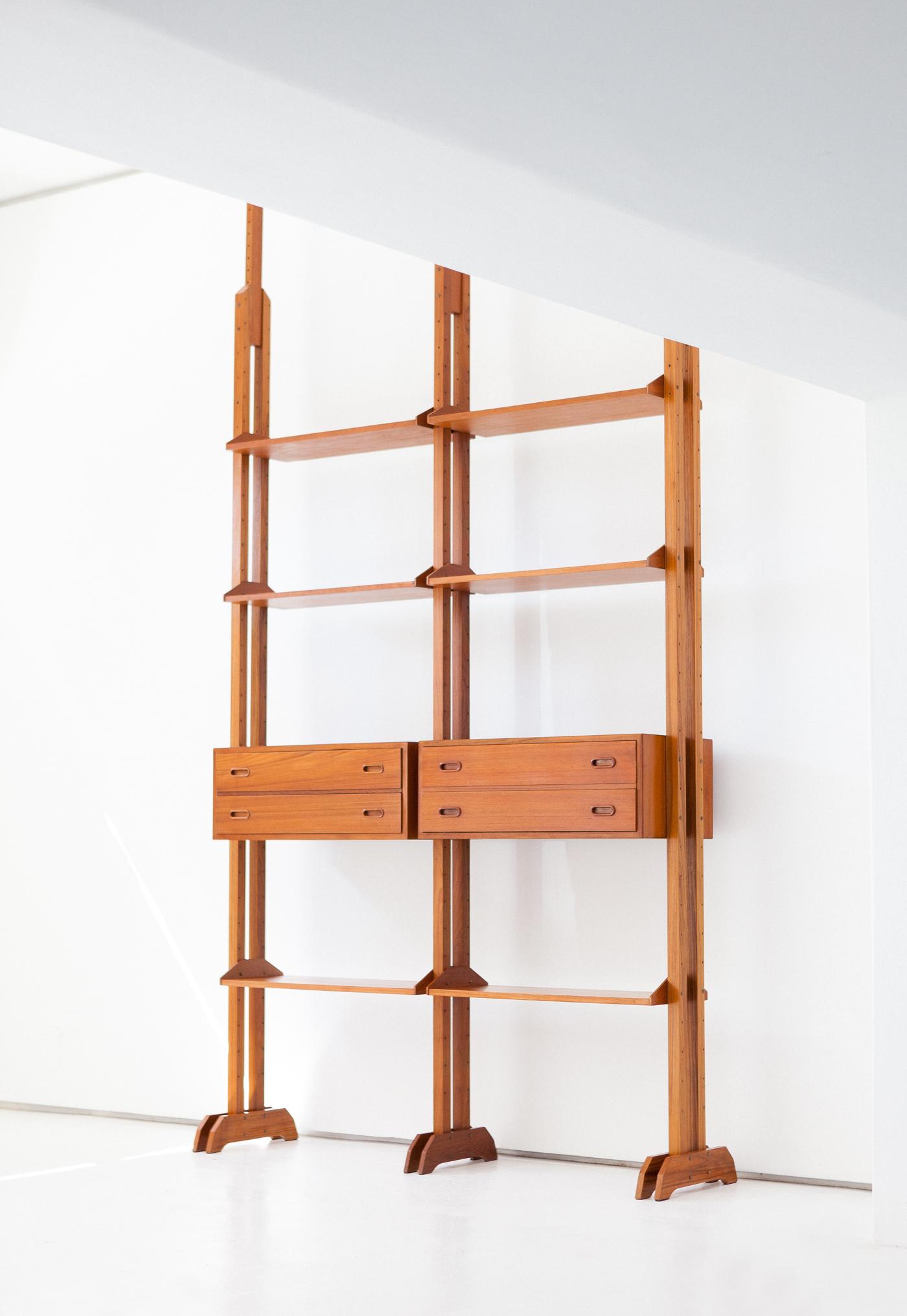 Italian-mid-century-modern-teak-modular-Bookshelf-wall-unit