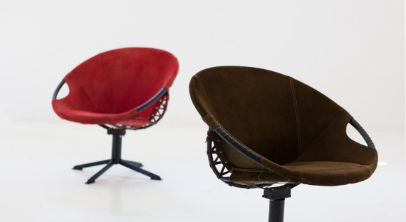Pair of Natural Suede Leather Lounge Chairs, 1960s SE267