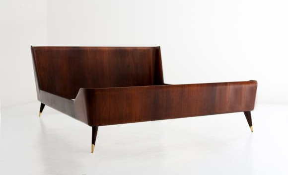 1950s Italian rosewood and brass double bed ,  OF78 – Not available