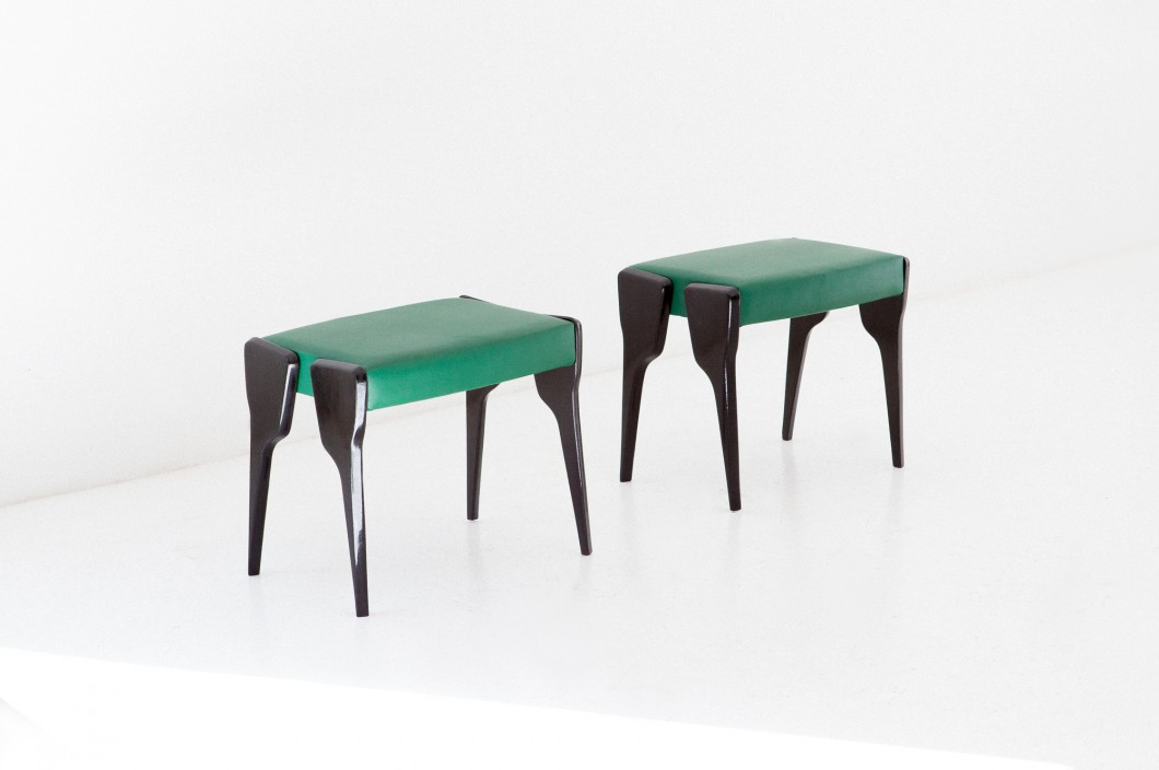 Italian black mahogany and green leather stools , 1950s  SE268 – Not available