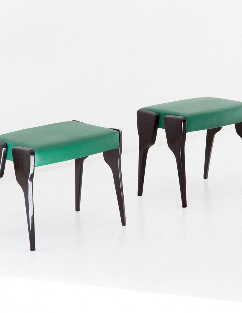 Italian black mahogany and green leather stools , 1950s  SE268