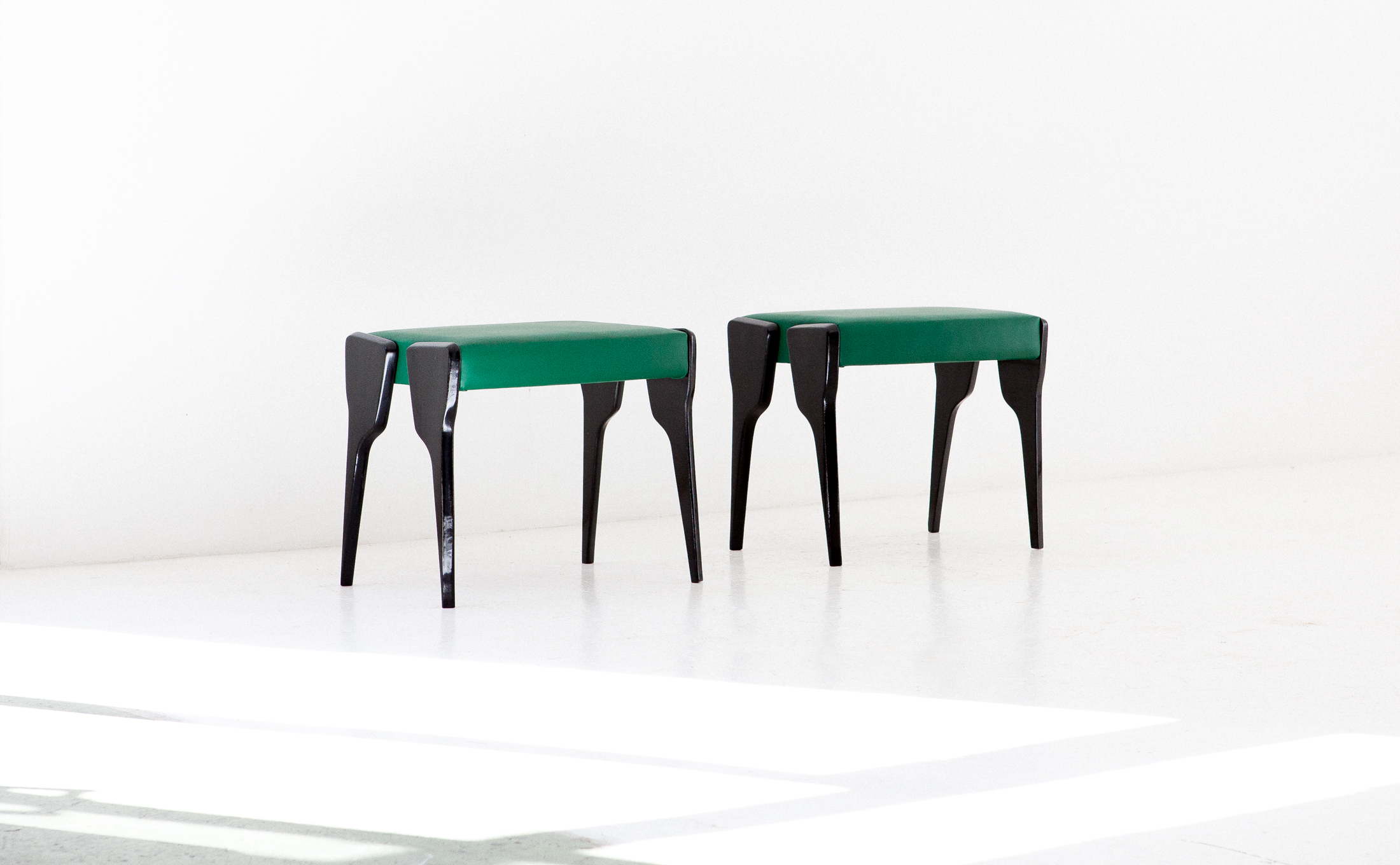 Italian-black-mahogany-and-green-leather-stools-1
