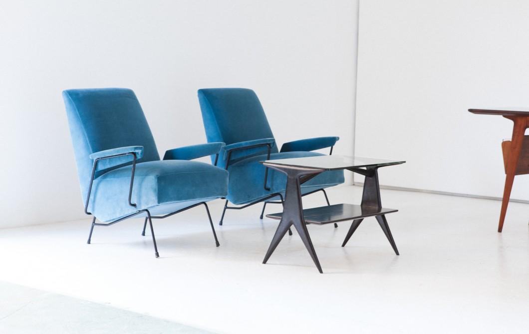 Pair of Italian Velvet and Iron Armchairs SE269