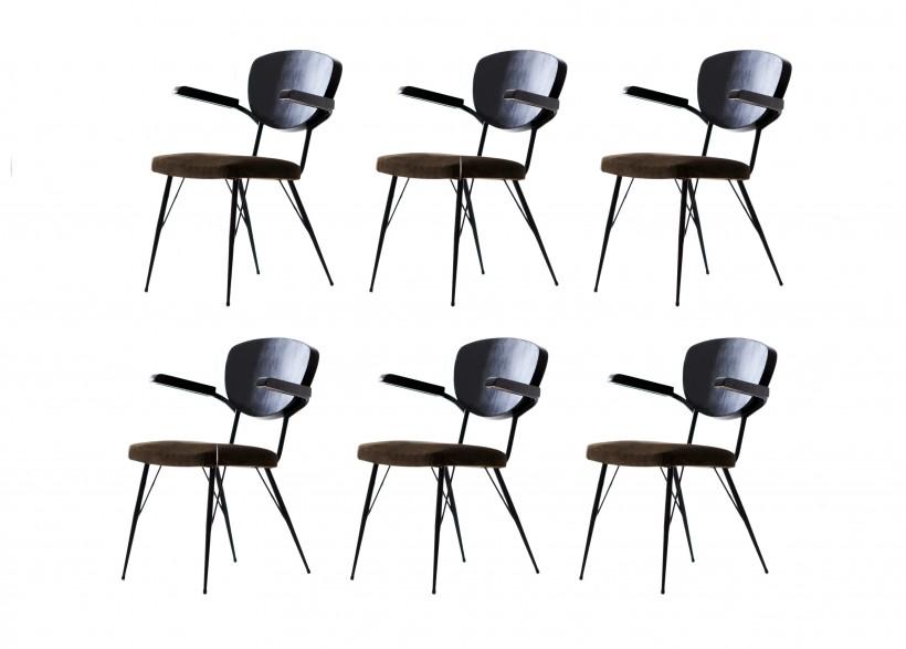 Six Italian Modern Dining Armchairs, 1950s  SE271
