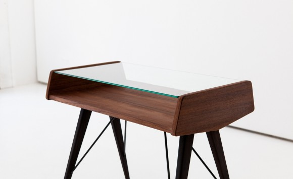 1950s rosewood and glass side table T74