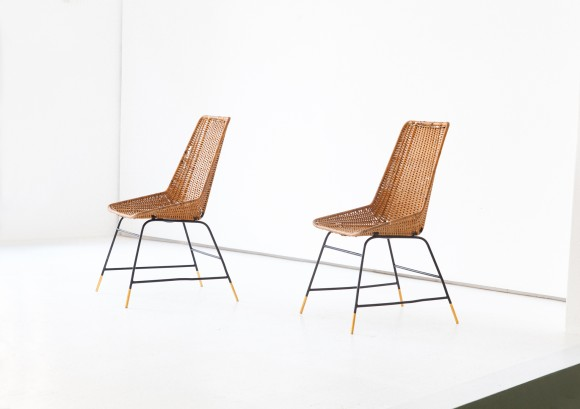 Pair of Italian Wicker Brass and Black Enameled Iron Chairs, 1950s SE274