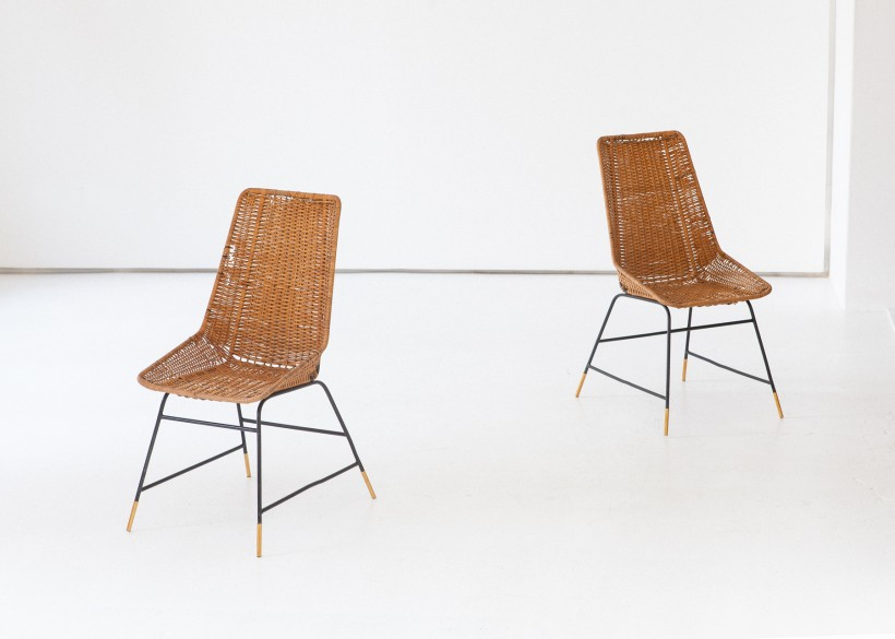 Pair of Italian Wicker Brass and Black Enameled Iron Chairs, 1950s SE274 – No longer available..