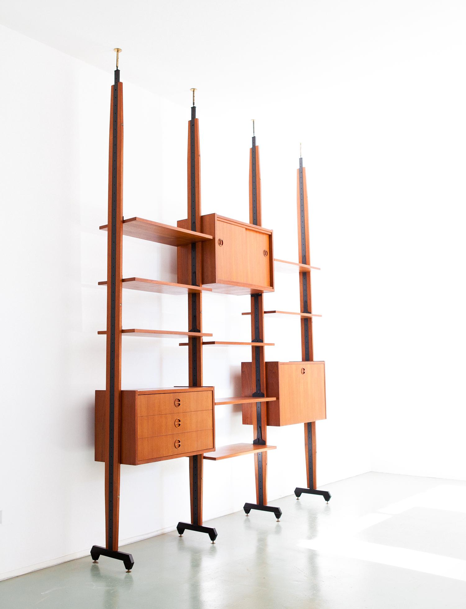 Italian-iron-brass-teak-wall-unit-bookshelf-34-5