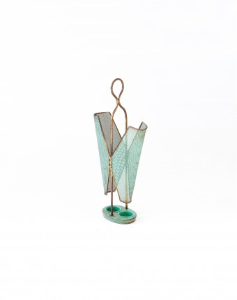 Italian Brass and Sage Green Umbrella Holder, 1950s OF80 -NOT AVAILABLE