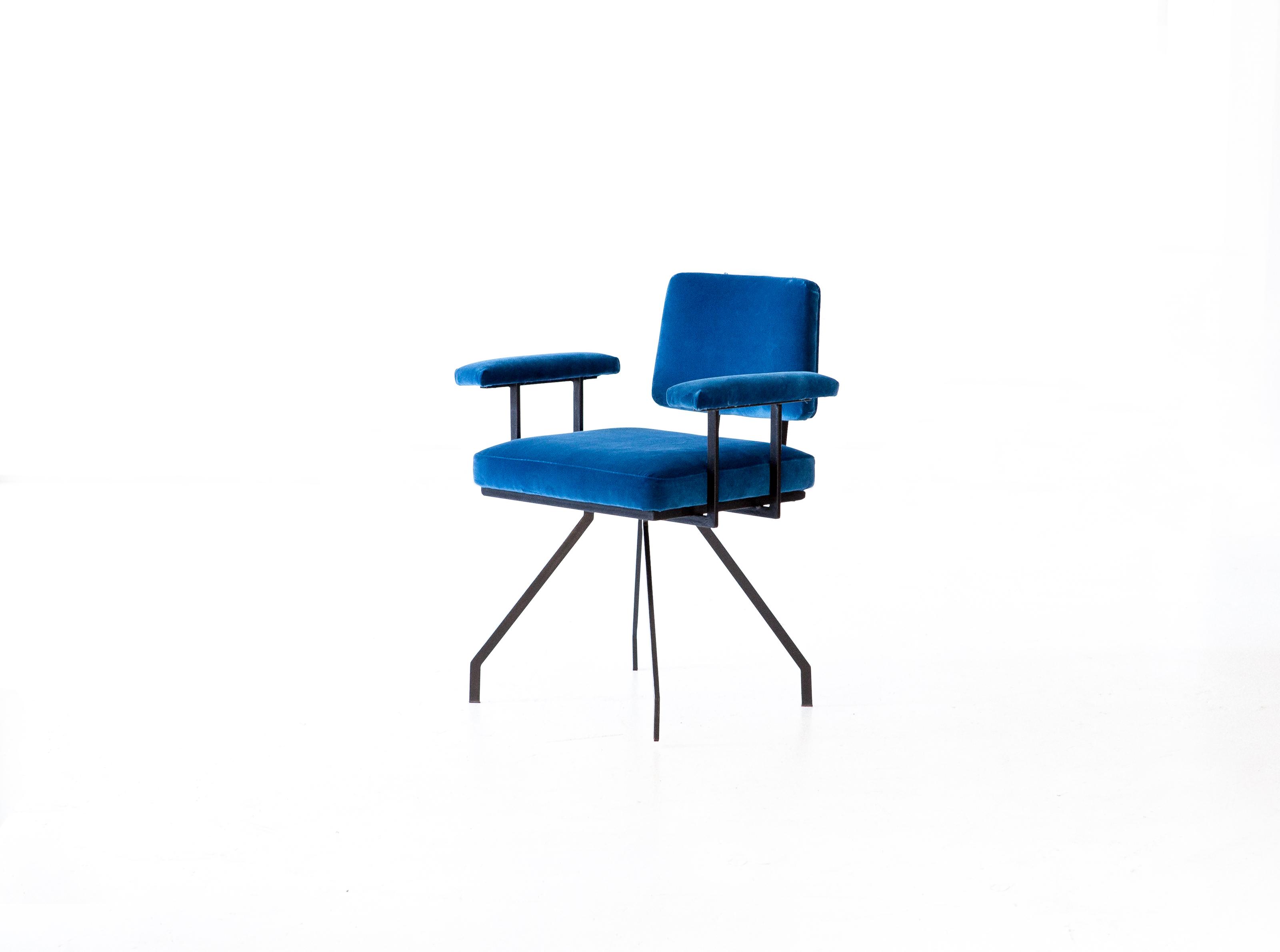 italian modern blue velvet spider armchair 4
