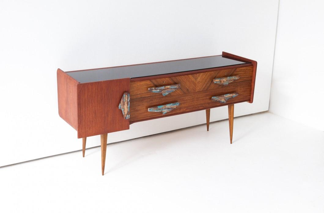 Rare italian  mahogany and teak sideboard ,1950s  ST110