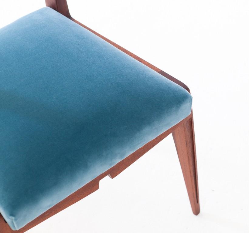 Set of Six Italian Velvet and Mahogany Dining Chairs