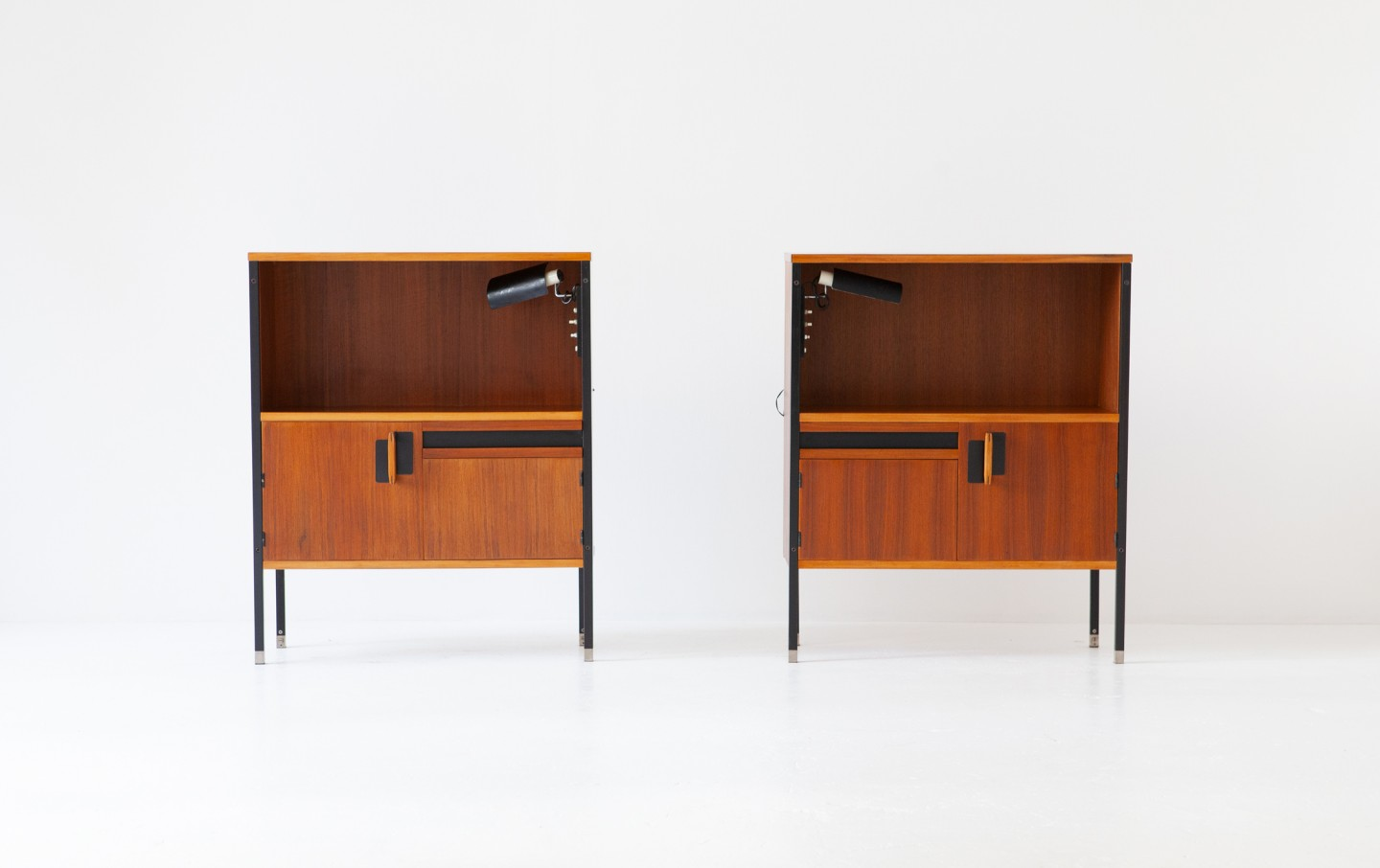 Pair of Nighstands by Ico Parisi for MIM Roma with Gino Sarfatti Lamps cod. Bedside tables 76