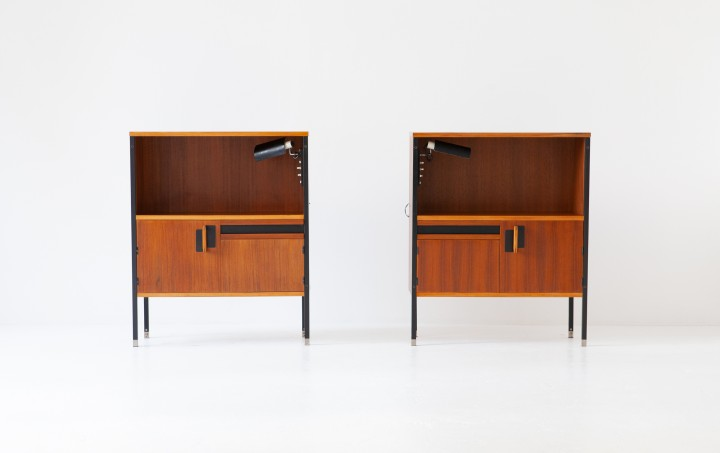 Nightstands by Ico Parisi for MIM with Gino Sarfatti Lamps, 1958  BT76
