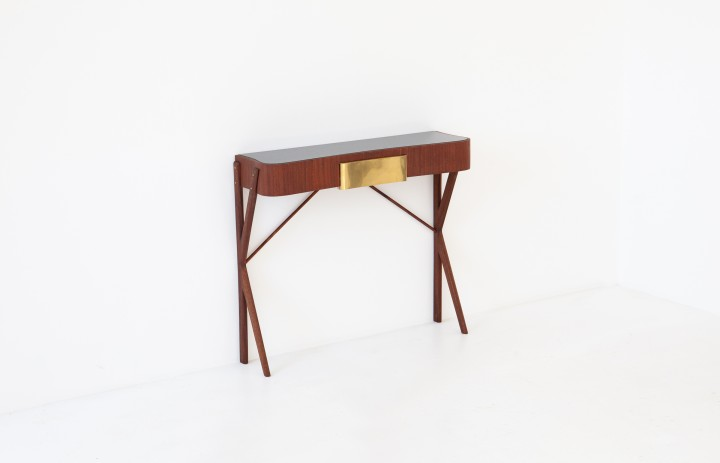 Italian Modern Mahogany Brass and Black Glass Console Table