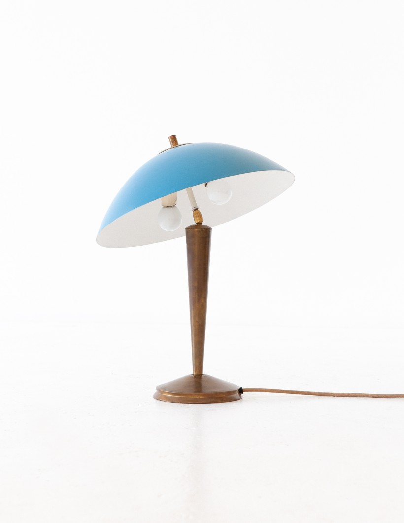 Italian Brass and Blue  Desk Table Lamp, 1950s L78