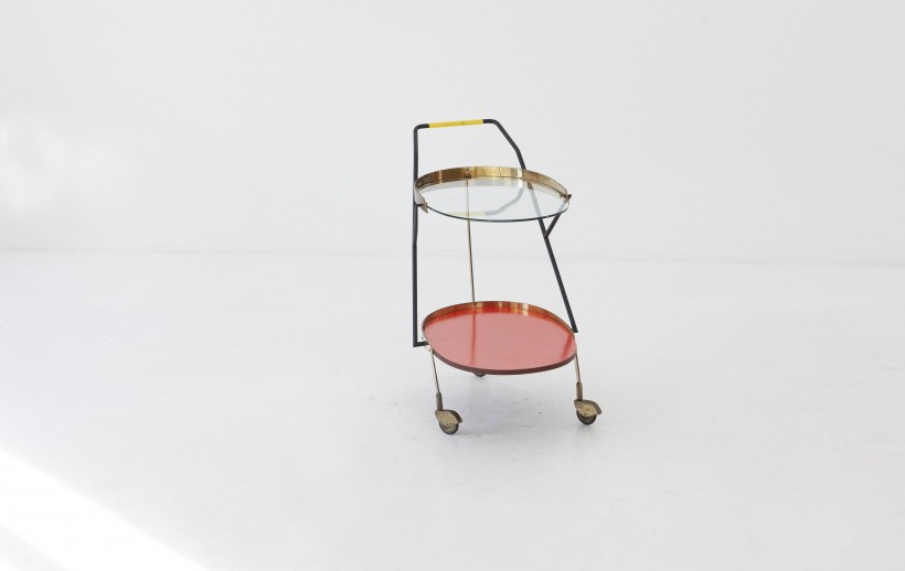 1950's italian brass and glass service trolley OF83