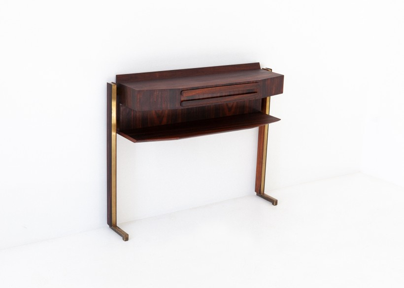 Italian Rosewood and Brass Console Table OF85