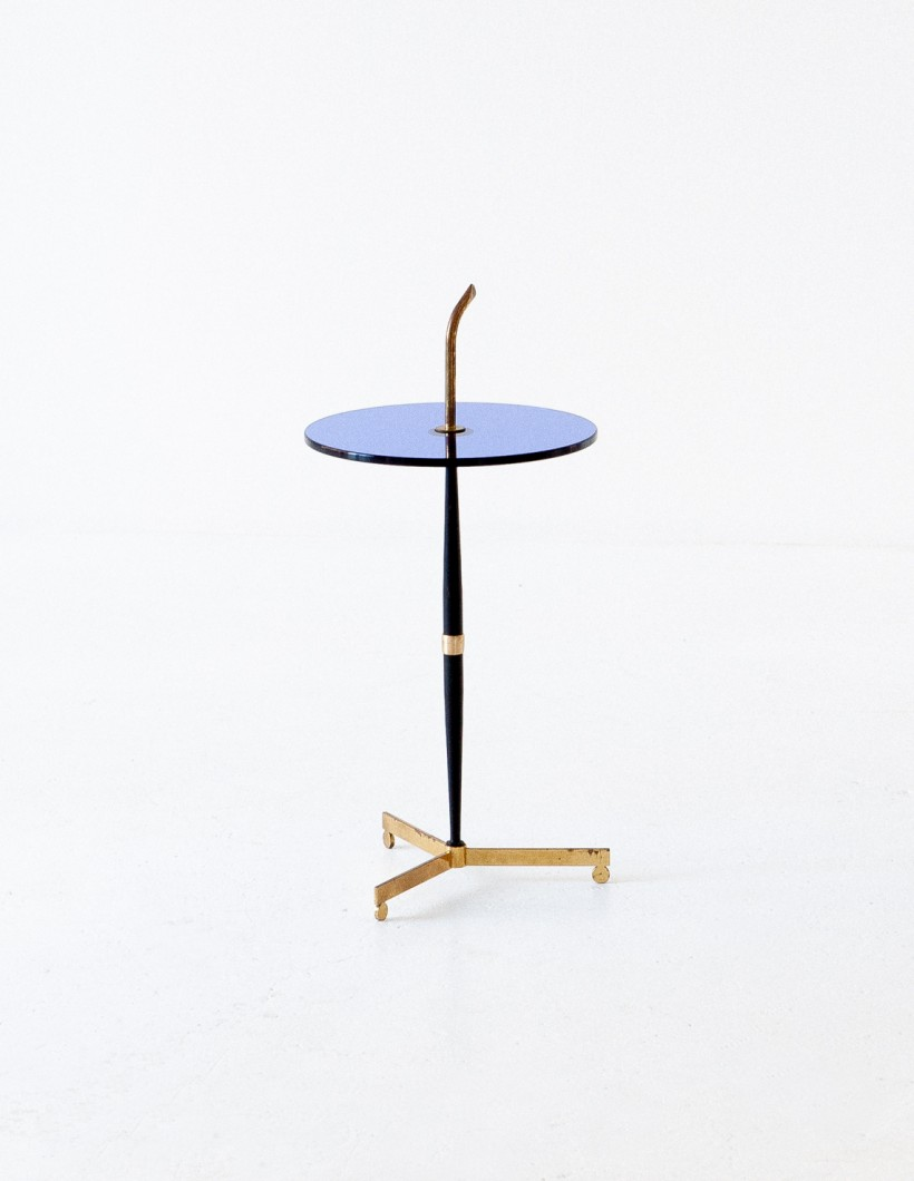 1950s Italian Blue glass and brass coffee table T77