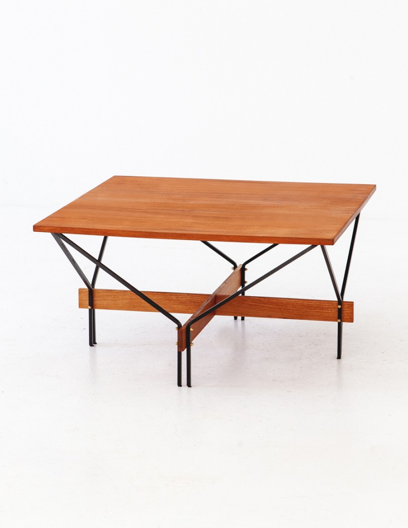 Italian teak and iron square coffee table T78 – Not available